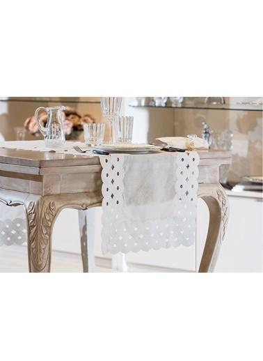 Gül Güler Dantelli Masa Bandı Daire Güpür 50*180 Beyaz